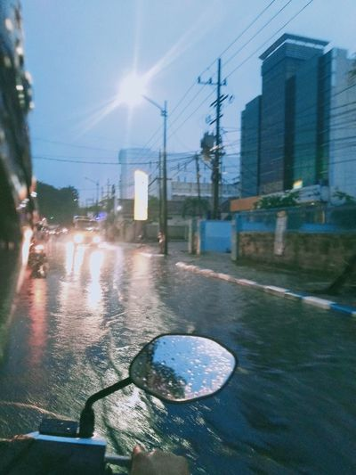View of city street during rainy season