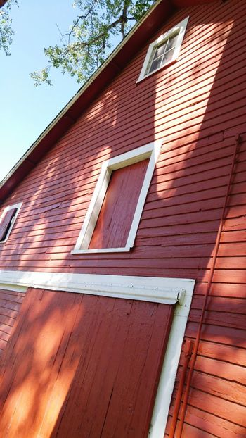Light And Shadow Big Red Barn Barnsnipers Down On The Farm Out In The Sticks Rural Scene Built Structure Outdoors Low Angle View Close-up
