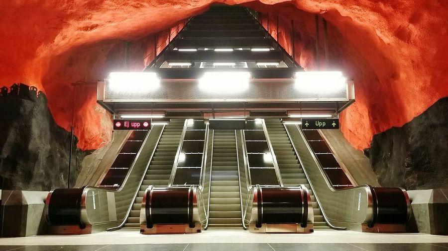 Illuminated Escalators At Solna Centrum Metro Station