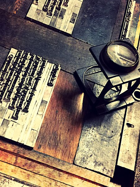 materials used in letterpress printing Close-up Craft Indoors  Letterpress Materials Letters Magnifier Metal Metal Type Printing Still Life Typography Vintage Materials Wood Wood - Material