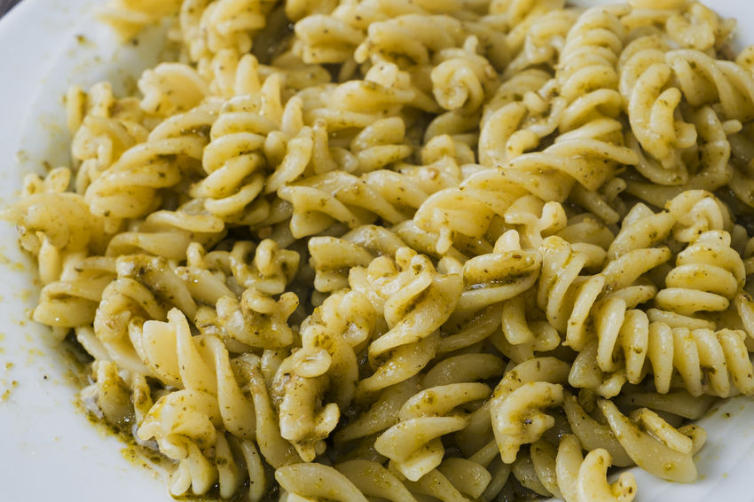 Food And Drink Food No People Close-up Healthy Eating Italian Food Freshness Ready-to-eat Indoors  Day Fusilli Fusilli Pasta Pesto Pesto Pasta Pesto Sauce Pesto Genovese Sauce Pasta Eating Healthy Kitchen Life Tasty Healthy Lifestyle Freshness Green Color Indoors  Basil