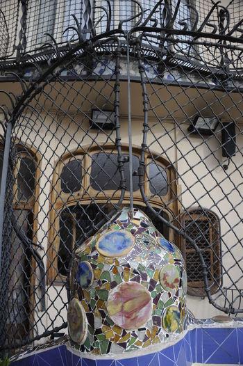Gaudi Outdoor Patio Built Structure Day Gaudi Mosaics Gaudì Architecture Work Metal Mosaic Art Mosaic Tiles No People Outdoors Sky Wrought Iron Design