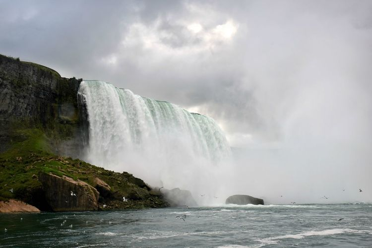 Autumn In Niagara Horseshoe Falls Low Angle View Niagara Niagara Falls Beauty In Nature Motion Niagara River No People Outdoors Power In Nature Scenics Sky Water Waterfall