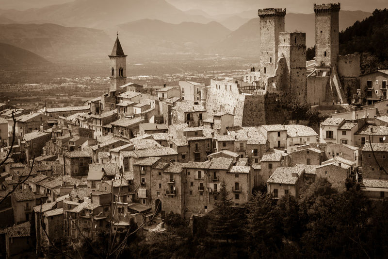 Pacentro is one of the most beautiful villages in Italy, Abruzzo Abruzzo Houses Majella Majella National Park Roof Abruzzo - Italy Architecture Building Exterior Buildings Built Structure City Cityscape High Angle View Landmark Medieval Village Mountain Pacentro Pacentro Photo Italy Place Of Worship Sepia Sepia_collection The Most Beautiful Villages In Italy Tower TOWNSCAPE Village