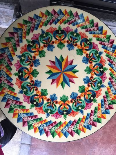 Table top Costa Rica Round Pattern Colorful Table Multi Colored Creativity Art And Craft Indoors  High Angle View Colorful No People Variation Close-up Day