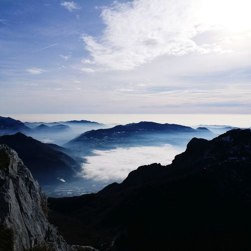 EyeEm Selects Sea Of clouds Panorama Italy Mountain Power In Nature Water Sunset Lake Sky Landscape Horizon Over Water Cloud - Sky