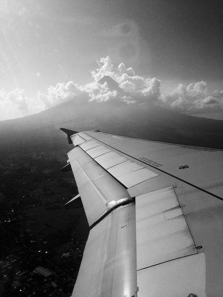 Airplane Airplane Wing B&w B&W Portrait Black And White Blackandwhite Mayon Mayon Volcano Mayon Volcano Philippines Nature Transportation Volcano Traveling Home For The Holidays