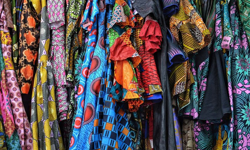Full frame shot of multi colored hanging at market stall