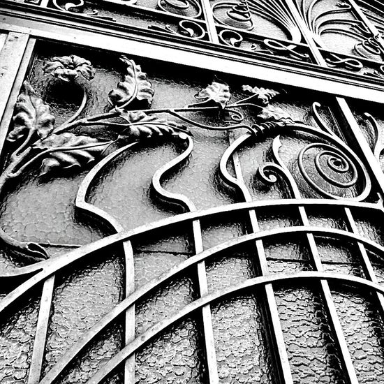 Art nouveau Outdoors Day No People Building Exterior Close-up Wrought Iron Door Art Nouveau Style Black And White France🇫🇷 Nancy