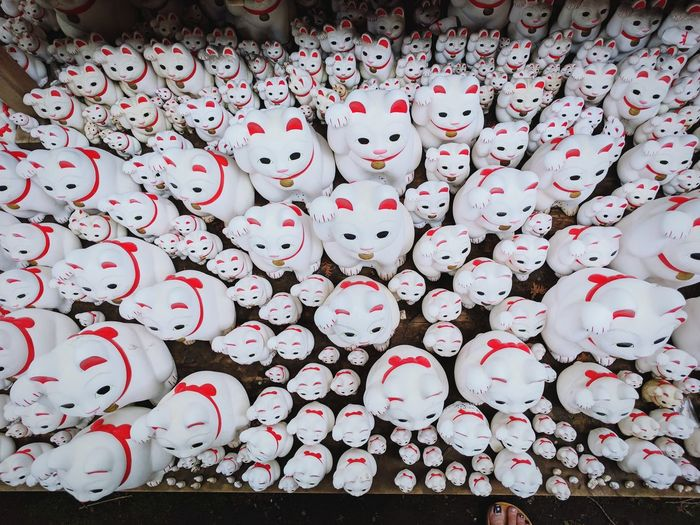 million lucky cats Japanese Culture Lucky Cats Cat Temple Up Top Full Frame Backgrounds Love Red Heart Shape Cultures Directly Above Close-up
