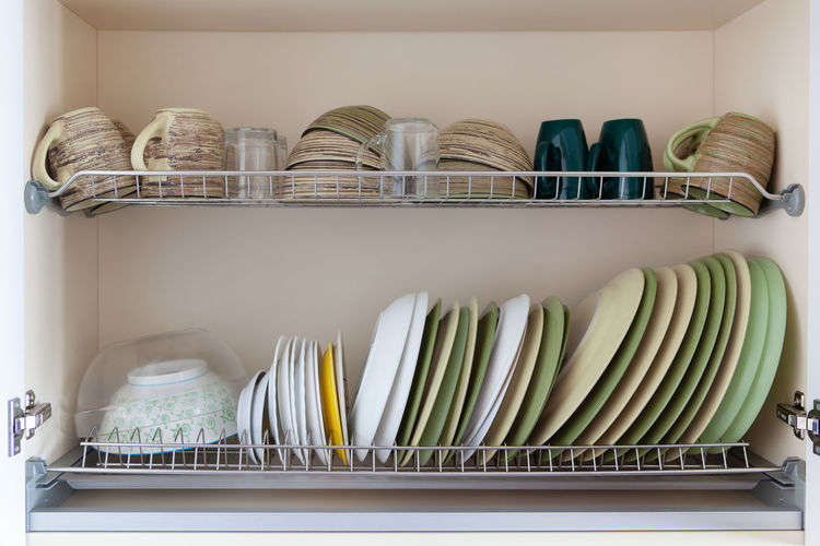 View of dishware at kitchen