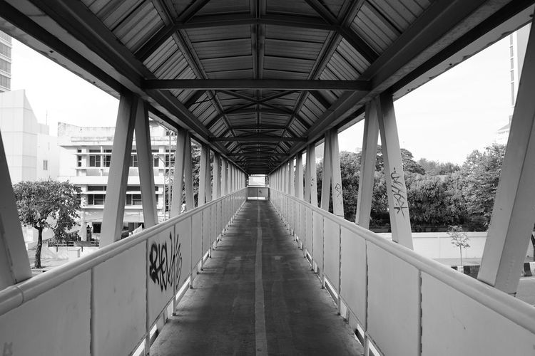 Walk way ASIA Thailand Thai Asian  Monochrome monochrome photography Monochromatic Bangkok Bangkok Thailand. Bangkok City Bridge - Man Made Structure City Architecture Built Structure Covered Bridge Elevated Walkway Moving Walkway  Empty Road Footbridge