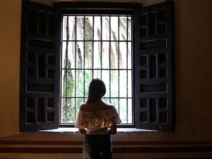 Window Rear View Indoors  Architecture Open Door Standing Doorway People Young Woman Day Home Interior Open Doors