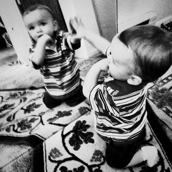 B&W Portrait Black And White Photography My Handsome Son Children's Portraits Mirror Reflection Mirror Picture My Baby Boy Hi! Children_collection Reflection