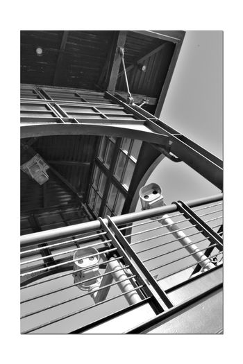 Observation Tower 2 Middle Harbor Close-up Port Of Oakland, Ca San Francisco Bay Low Angle View View Finders Scopes Tower Roof Handrails Architecture Architectural Feature Arches Window Panes Deck Light FixtureMonochrome Monochrome Photograhy Black & White Black And White Photography Black And White Black And White Collection