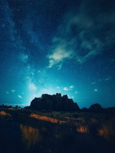 Midnight action. Star - Space Astronomy Night Space Sky Galaxy The Great Outdoors - 2018 EyeEm Awards Milky Way Nature Tranquil Scene Tranquility Star Field No People Science Scenics - Nature Beauty In Nature Star Space And Astronomy Mountain Constellation Environment