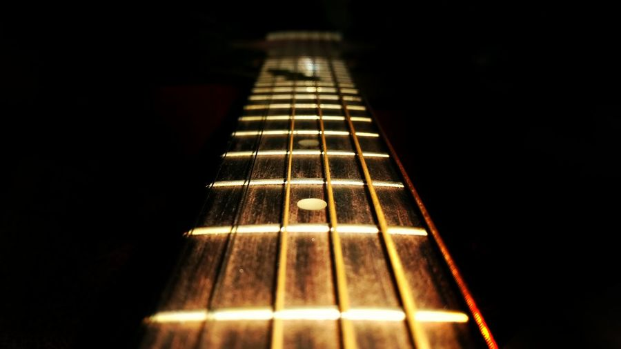 Musical Instrument Close-up Music Selective Focus Black Background Frets On Fire