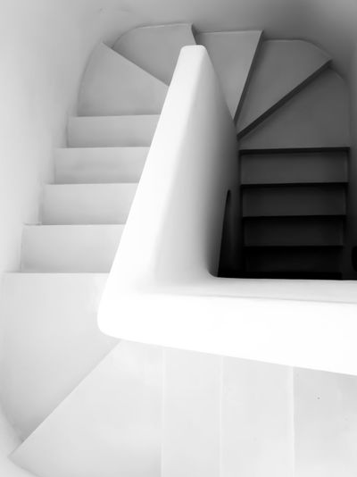Descending Black And White Close-up Colombo Sri Lanka Descending Descending Down The Stairs Detail Geoffrey Bawa Modern No People Shadows Shadows And Light Spiral Sri Lanka Staircase Stairs White White Color Fine Art Photography The Architect - 2018 EyeEm Awards