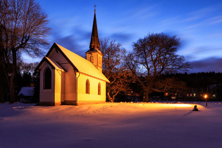 Building Exterior Tree Built Structure Architecture Religion Place Of Worship Belief Spirituality Building Plant Sky Nature Illuminated Night Dusk Bare Tree Outdoors Spire  Harz Harzmountains Elend Church Winter Snow