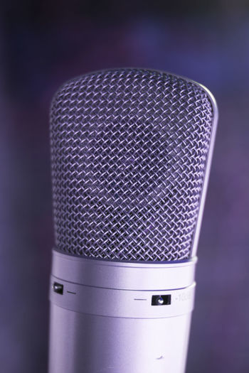 Studio Microphone Recording Radio Music Sound Audio Voice Equipment Background Professional Broadcasting Mic Isolated Technology Media Equipment Dj Entertainment Retro Performance VoiceOver Room Broadcast Metallic Booth Silver  Instrument Acoustic Tube Condenser Podcast Voice-over Digital Large Diaphragm Modern