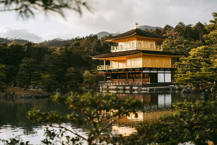 Architecture Building Exterior Built Structure Gold Japan Kinkakuji Kyoto No People