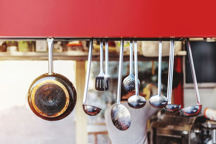 Food Street Street Food Vendor Utensils Steel Market Fair Pan Bright Ladle Kitchen Utensil Kitchenware Cookware Cooking Cook  Chief Tasty Delicious To Go Fast Food Retail  Fashion For Sale Choice Business Finance And Industry Market Stall Variation Store Window Window Display