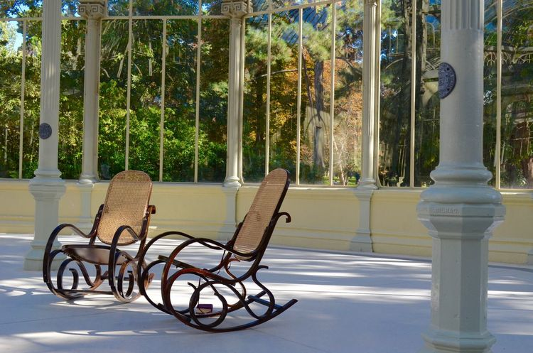 Architecture Autumn Casa Casa Del Pescador. Chairs Day El Retiro Fountains Glass Glass Palace Grandma Green House Lake Madrid Nature Nature Photography No People Oasis Palace Park Parque  Rocking Chair Sculpture Sunlight