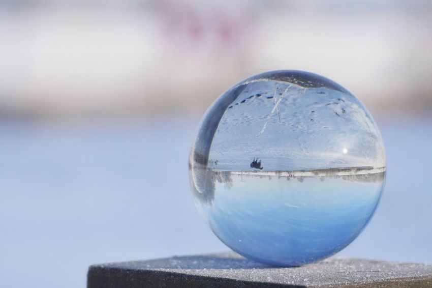 Glass ball reflection Winter Reflection Beauty In Nature Blue Snow Lensball Glass Ball Dog Animal Themes River No People Close-up Fortune Telling Crystal Ball Single Object Focus On Foreground Water Outdoors Nature Sky
