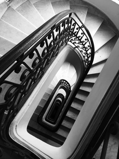 Architecture Building Built Structure Day Design Diminishing Perspective Directly Above Directly Below Empty High Angle View Indoors  Metal No People Pattern Railing Repetition Spiral Spiral Staircase Staircase Steps And Staircases