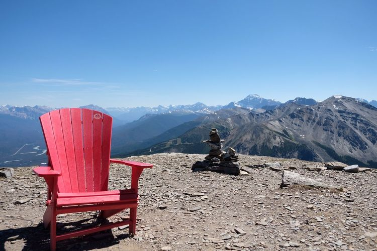 red chair Sky Nature Mountain Day Beauty In Nature Scenics - Nature Seat Cold Temperature Tranquility Tranquil Scene Mountain Range No People Idyllic Wood - Material