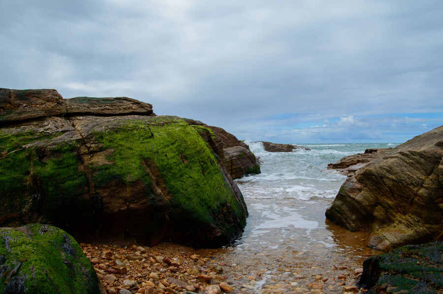 Ocean Rocks Rocks And Water Les Sables D'Olonne Vendée France Water Sea Beach Travel Destinations Cloud - Sky Nature Outdoors Landscape Beauty In Nature Scenics