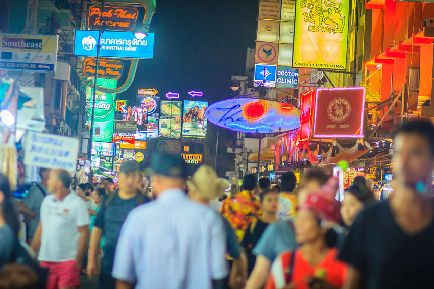 Bangkok, Thailand - March 2, 2017: Tourists and backpackers visited at Khao San Road night market. Khao San Road is a famous low budget hotels and guesthouses area in Bangkok. Khao San Rd Khao San Road KhaoSan Khaosan Rd. Khaosandroad Tourist Tourist Attraction  Tourists Khao San Khao San Knok Wua Khao San Rd. Khaosan Road Khaosanroad Night Market Night Market In Thailand Night Market, Tourist Destination