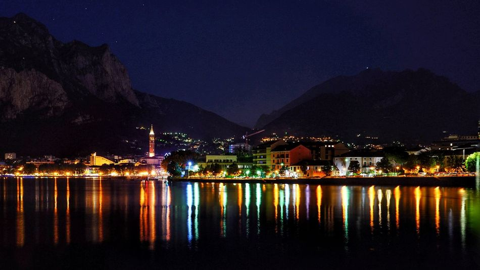 Lecco night time Lombardia Lake Sony Acqua A7r2 Italy EyeEm Selects Sony A7r2 Como Lake Lago Di Como, Italy Notte Luci Di Città Star - Space Cityscape Water Illuminated Mountain City Town Nightlife Harbor Reflection My Best Travel Photo