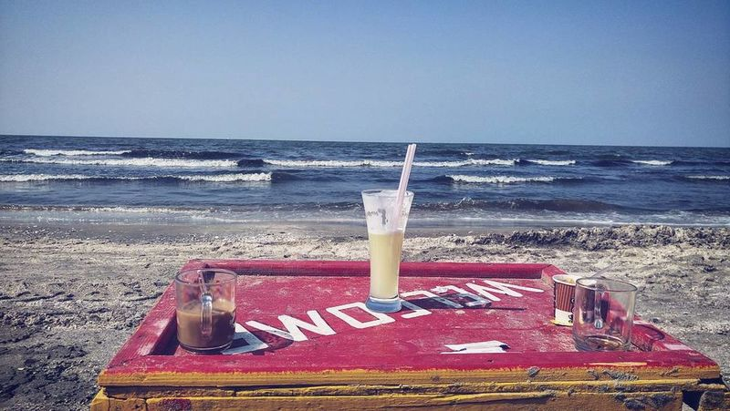 Beach Beach Photography Lemon Juice Table Summer Summertime Juice No People No Edit/no Filter Blue Sky Blue Background Blue And Red Red Table Suez Canal Mediterranean  Plage Portsaid Egypt