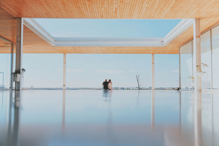 Architecture Built Structure Day Full Length Indoors  Men Nature People Real People Rear View Reflection Sky Swimming Pool Two People Water Women