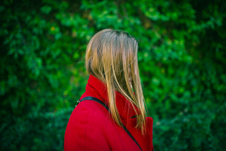 The side portrait! Hair One Person Long Hair Focus On Foreground Women Blond Hair Lifestyles Real People Hairstyle Headshot Side View Leisure Activity Standing Portrait Red Day Plant Green Color Adult Outdoors Contemplation Scarf Beautiful Woman Contrasting Colors Red And Green