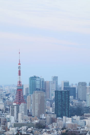 Architecture Built Structure Building Exterior Building City Skyscraper Tall - High Tower Cityscape Office Building Exterior Sky Landscape No People Travel Destinations Urban Skyline Nature Travel Tourism Residential District Outdoors Modern Financial District  Spire  Tokyo Tokyo Tower