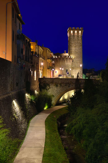 View of the historical center of Umbertide, a historic Italian city. Night landscape of the old town lit with artificial lighting. Architecture Building Exterior Built Structure Castle City History Illuminated Italy Night No People Outdoors Sky Tree Umbertide HUAWEI Photo Award: After Dark