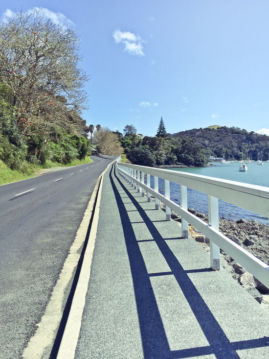 Blue Calm Day Diminishing Perspective Empty Long Mangonui Nature New Zealand Non-urban Scene Outdoors Railing Remote Road Road Marking Scenics Sea Sky Solitude Surface Level The Way Forward Tranquil Scene Tranquility Tree Water