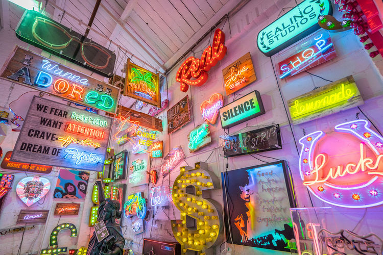 Neon signs and decorations at God's Own Junkyard in Walthamstow, London. Bright Colors Colourful Neon Signs City Lighting Communication Illuminated Multi Colored Neon Neon Lights Urban Urban Lighting