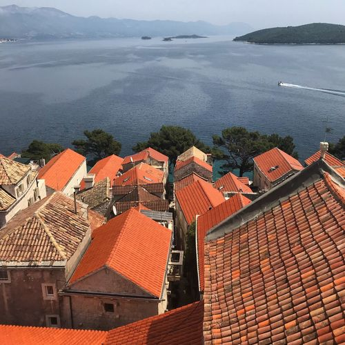 Croatia Travel Island Boat Roof Architecture High Angle View Water Built Structure Sea Mountain