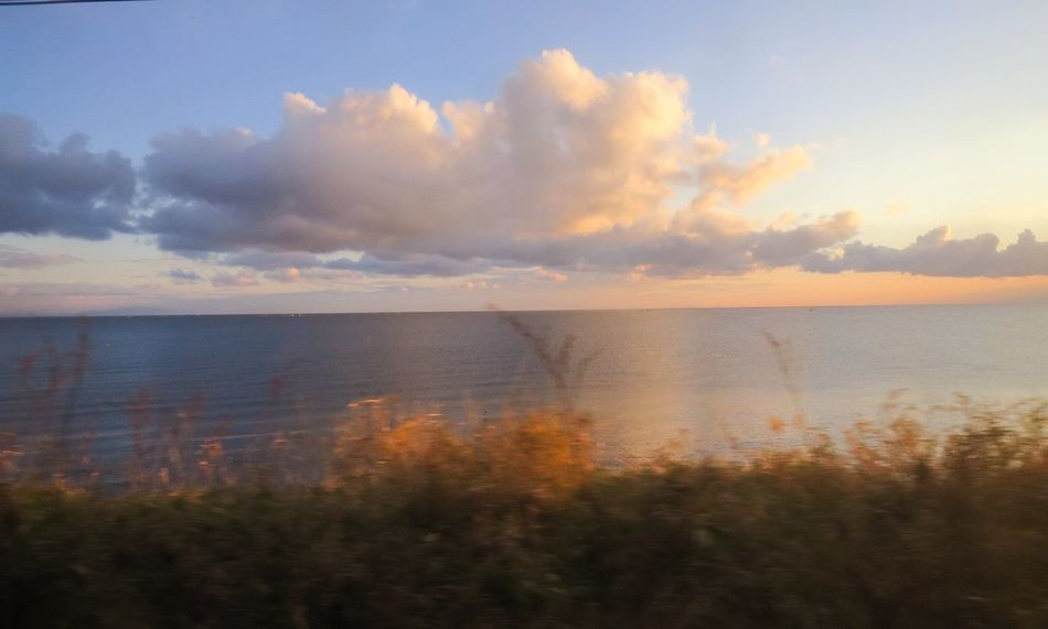 EyeEm Best Shots Clouds And Sky Evening Sky Sky Collection EyeEm Nature Lover Water Reflections Train Window at Hokkaido , Japan