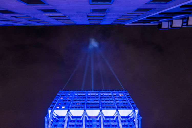 Into the blue Light Blue No People Illuminated Architecture Built Structure Lighting Equipment Building Exterior Low Angle View Glowing Arts Culture And Entertainment City Nightlife Milan Milano Milan Design Week 2019