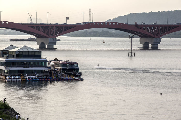 Arch Arch Bridge Architecture Bridge Built Structure Connection Dangsan Day Engineering Han River Hangang Jetskiing Leisure Activity Nature Outdoors Rippled River Riverside Seongsandaegyo Sky Tourism Tranquil Scene Tranquility Travel Destinations Water