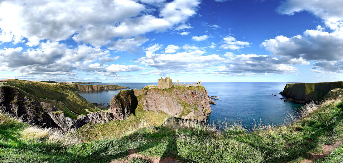 Aberdeenshire Coastline Dunnottar Castle Panorama Scotland Scotland 💕 Beauty In Nature Cloud - Sky Day Environment Horizon Land Landscape Nature No People Non-urban Scene Outdoors Plant Scenics - Nature Scotlandsbeauty Tranquil Scene Tranquility Water