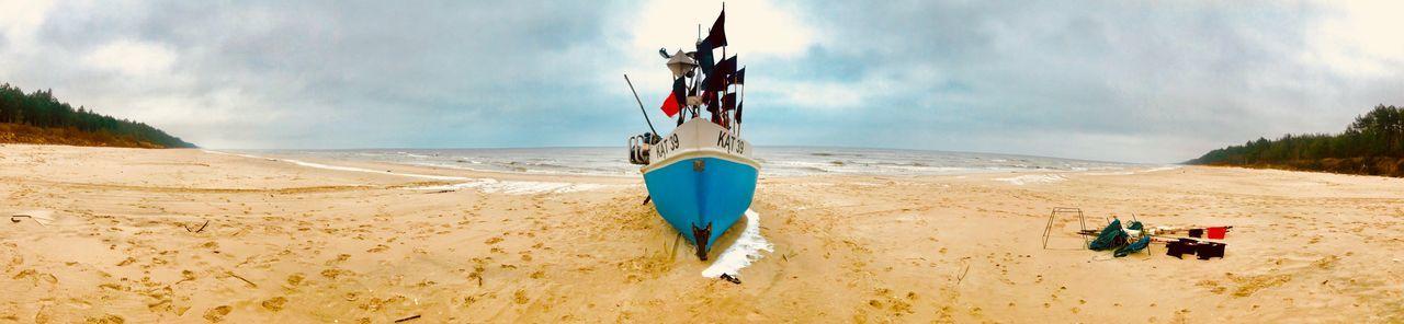 Impresje 💙 Djvolga Fishing Boat Ship Sky Beach Flag Land Sand Cloud - Sky Water Sea Nature Beauty In Nature My Best Travel Photo EyeEmNewHere Fish Ship