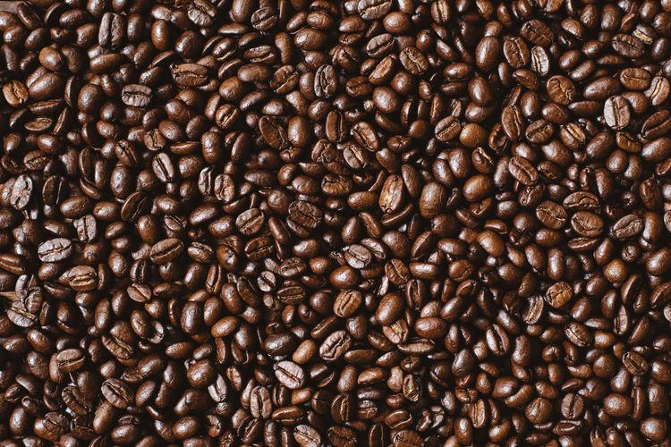 Fresh dark roasted coffee background