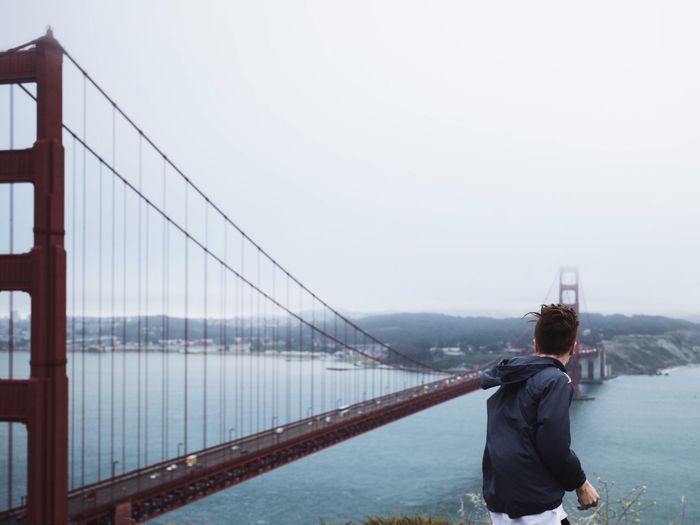 One Person Young Adult Sky Golden Gate Bridge Golden Gate Bridge View Ocean California Water