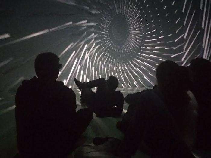 Shadow Movıe Linz Austria Ars Electronica Center IASTE Group Visiting Art Technology Fun Advanture Men Silhouette Togetherness