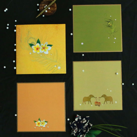 """Floral Print Invitations   IndianWeddingCards World-Wide Shipping Card Code:- CD-1671 Type:- Wedding Invitation Size:- 8.75 """" X 8.75 """" X 0.12"""" Card Color:- Yellow Inserts Color: Khaki & Green Paper Type:- Matt paper Process:- Embossing, Multicolor Offset Printing Theme:- Floral Floral Theme Wedding Invitations Floral Theme Wedding Invites IndianWeddingCards Wedding Cards"""